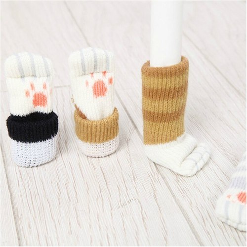 4pcs Chair Leg Socks Cute Cartoon Cat Floor Protection Knitting Socks None-Slip Chair Feet Cover