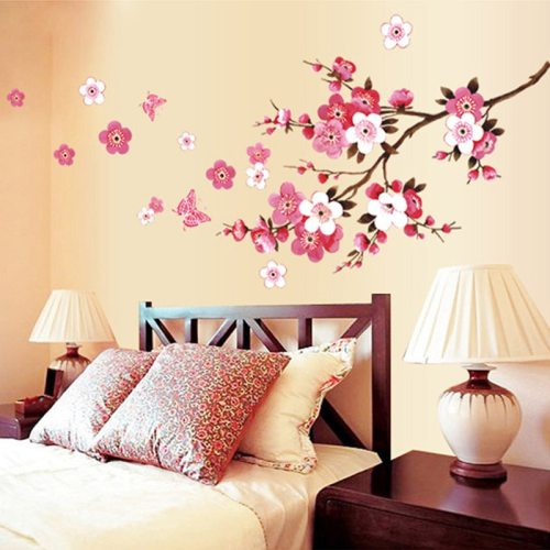Beautiful sakura wall stickers flower peach wallpaper living bedroom decoration home decals mural arts poster adesivo parete