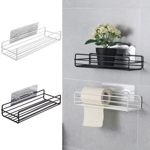 Bathroom Metal Storage Rack Suction Hanging Holder Soap Sponge Dish Drainer Shelf Bath Kitchen Organizer college dorm