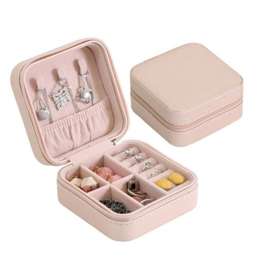 Fashion Women's Earrings Rings Jewelry Box Makeup Organizer With Zipper Travel Portable Jewelry Organizer Case