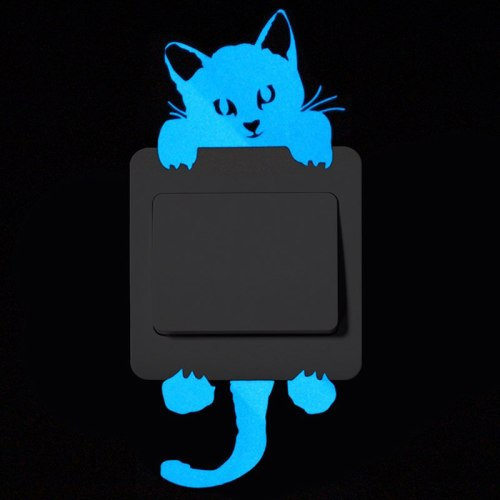 Cartoon Blue Luminous Wall Stickers Switch Wall Decal Glow In The Dark Cat Room Decor Kitchen Sticker Baby Room Wall Decorations