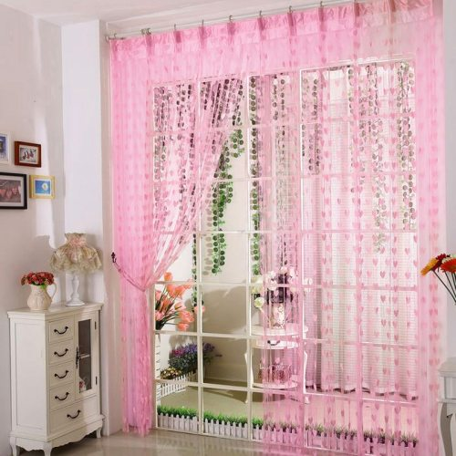 Home string window curtain for door tulle voile curtains blinds for children tassel lace curtain romantic house decoration