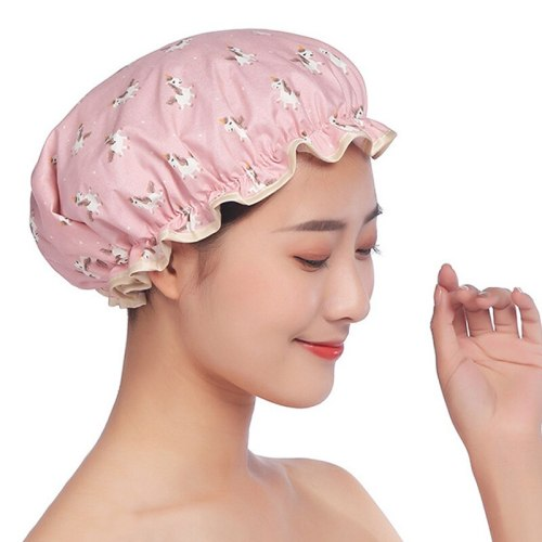 Fashion Waterproof Bath Hat Cartoon Double Layer Shower Cap For Women Hair Cover Bathroom Accessories