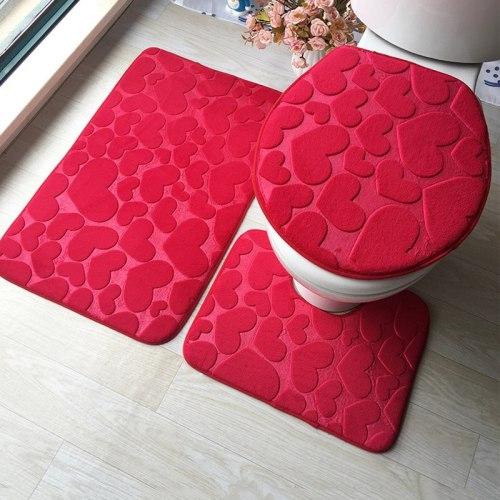 3Pcs/Set Toilet Seat Cover Bathroom Toilet Mats Bathroom Accessories Embossing Flannel Floor Rug For Bathroom Home Decoration