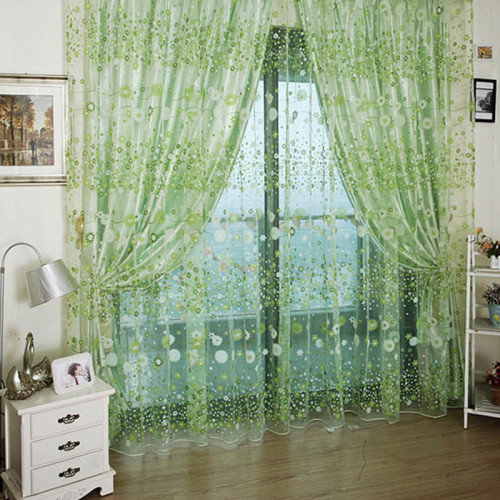 Daisy flower printing window curtain fabric blinds decor voile door window curtains balcony screen cortinas para puertas