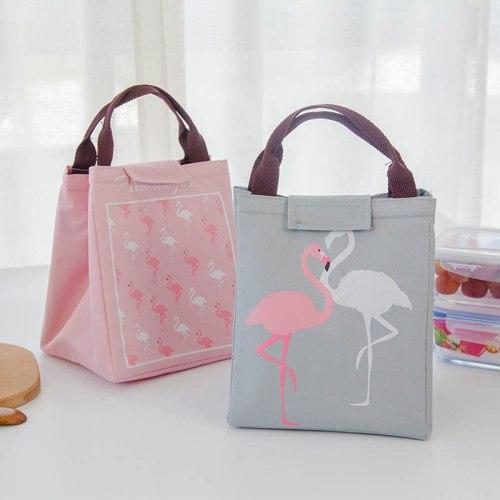 Flamingo Waterproof Oxford Lunch Bag storage organizer Food Warmer Thermal Bag Baby Milk Bottle Insulation Bags