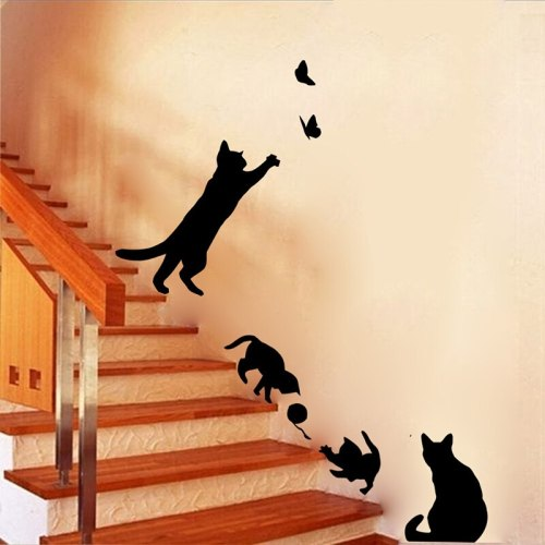 Cat Play Ball Butterflies Wall Sticker Removable Decoration Decals For Steps Children Room Bedroom Kitchen  Living Room Walls