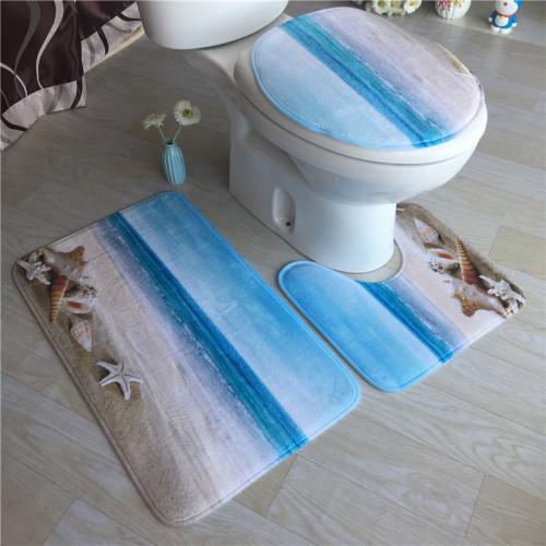 3Pcs/Set Toilet Cover & Bath Mat Non-Slip Pedestal toilet mats Rug & Lid  Banheiro bathroom mat set Bathroom Accessories Set