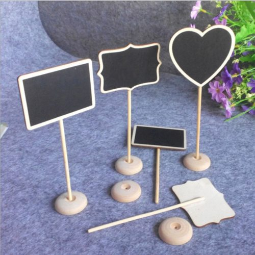 Fashion 5pcs/bag wooden chalkboard backboard label wedding birthday decoration message number tag decor for a photo