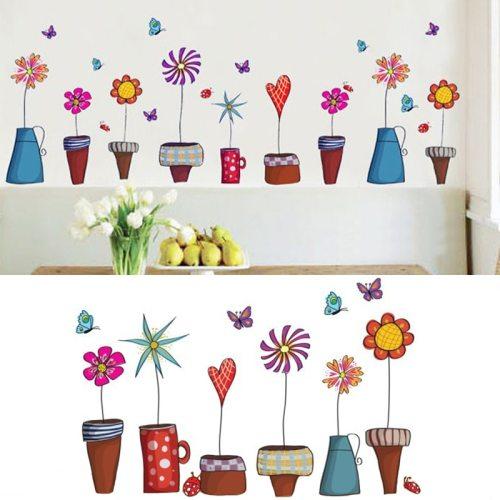 2019 cute cartoon flower butterfly wall sticker papel de parede windows floor glass creative sticker decor for kids room decal