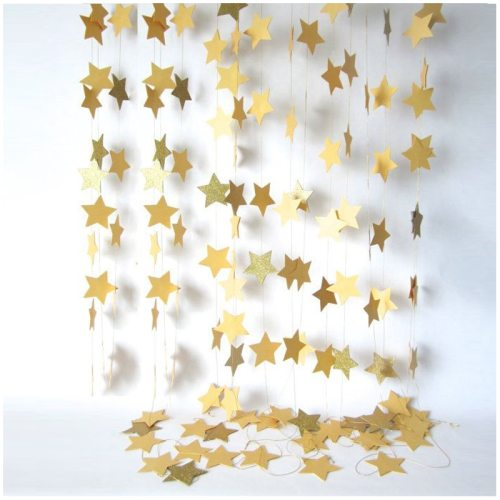 Fashion Wall Hanging Paper Star Garlands 2m Long Birthday String Chain Wedding Party Banner Handmade Children Room Home Decor