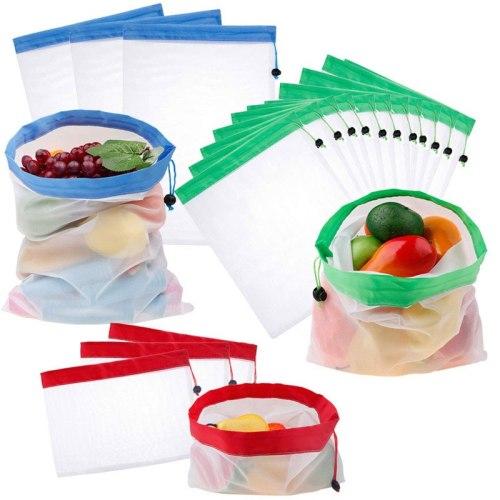 3Pcs Reusable Fruit Bags Kitchen Storage Bag Mesh Fruit Vegetable Toys Produce Bags Grocery Shopping Home Kitchen Organizer