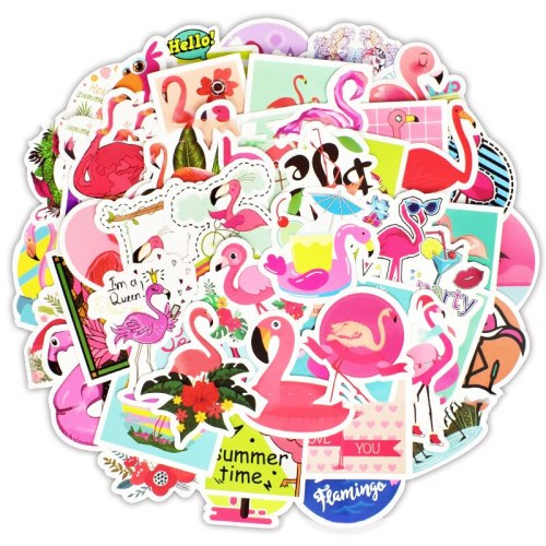 50Pcs Kawaii Flamingos Stickers for crafts and scrapbooking Kids DIY Label Diary Stationery Album Stickers
