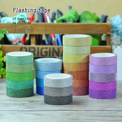 Household glitter paper art decor sticker colorful self-adhesive tape photo picture decoration child diy handmade training tools