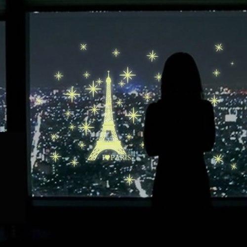 Luminous Stickers Wall Fridge Glow In Dark Paris Tower Living Room Bedroom Decor Fluorescent Stickers New Year Decoration 2019
