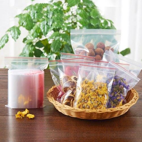100Pcs Clear Bag Plastic Grip Self Seal Resealable Reclosable zip lock plastic bags Organizer For Home Sundries Storage Bag
