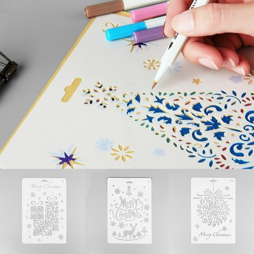 4Pcs DIY Craft Christmas Stencils For scrapbooking material Painting  stamps and dies Album Decor Embossing Paper Card Template
