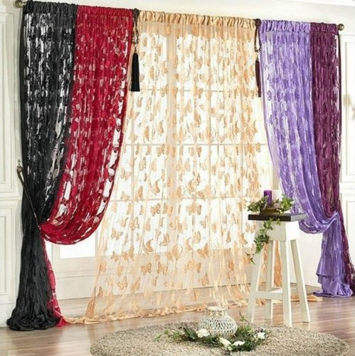 100*200cm Romantic knitted butterfly string sheer curtains for living room bedroom kitchen,8 colors