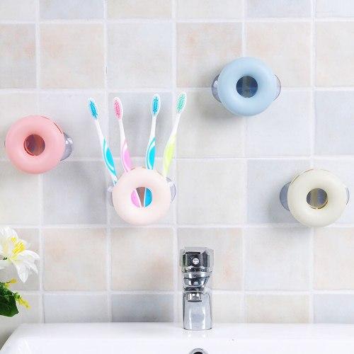 Cute Round Toothbrush Holder Bathroom Kitchen Bathroom Toothbrush Suction Cups Holder Wall Stand Hook Cups Organizer