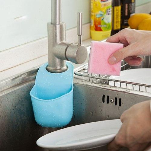 Kitchen practical sponge holder detergent sponge storage for bathroom storage in the kitchen faucet rack shelves organizer