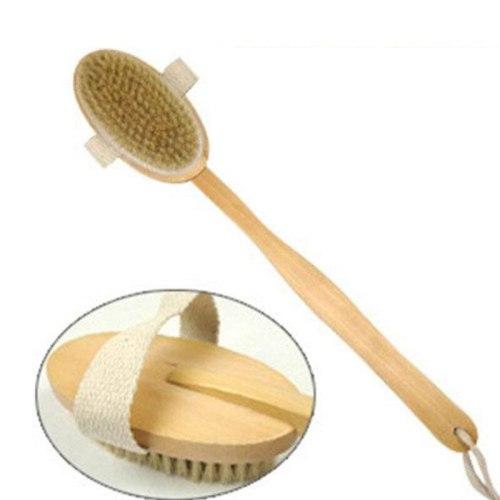 2 Styles Natural Bristles Long Handle Bath Brush Massage Brush Scrubber Wooden Spa Shower Brush Bath Body Bathroom Accessories