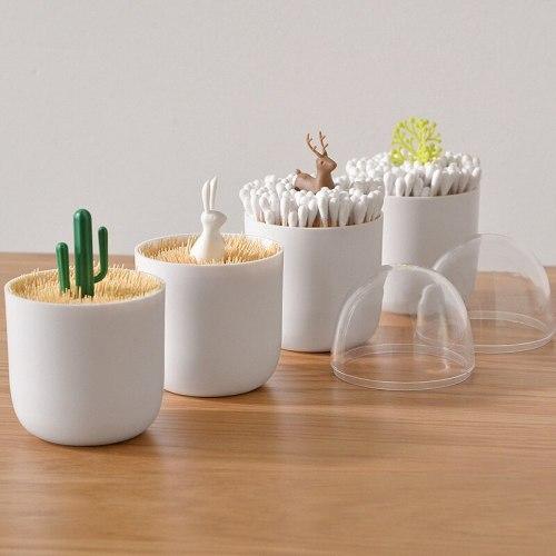 Dustproof Cactus Deer Toothpicks Holder Cotton Bud Holder Case Organizer Cotton Swab Storage Box Cute Home Table Decoration