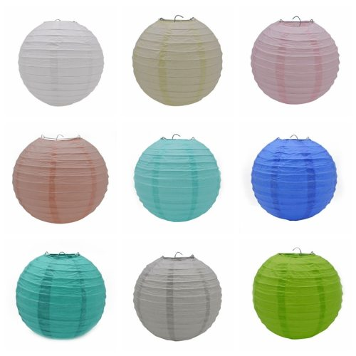 1pcs 20cm/25cm/30cm Colorful Chinese Round Hanging Paper Lanterns lamps Paper Crafts Party Festival Wedding Home DIY Decoration