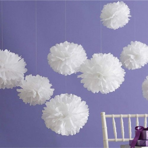 5PCS Handmade 6''(15CM) Tissue Paper Pom Poms Paper Flower Ball For Home Garden Party Wedding Birthday&Wedding Car Decoration