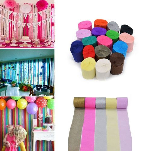 10m Crepe Paper Streamers Roll DIY Photography Backdrops Wedding Supplies Birthday Party Baby Shower Decorations Background