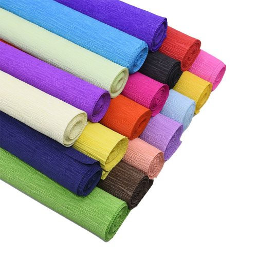 250*25cm Colored Crepe Paper Roll Origami Crinkled Crepe Paper Craft DIY Flowers Decoration Gift Wrapping Paper Craft