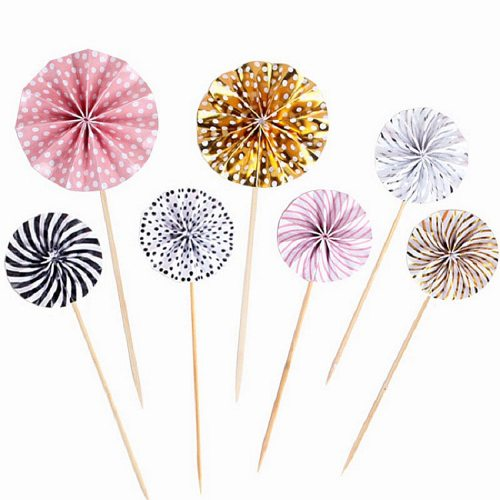 4Pcs/lot Mini Paper Fan Cake Topper Cupcake Toppers Kids Birthday Party Baby Shower Cake Decoration Flags Wedding Favor Supplies