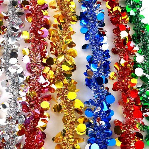 2M Colorful Christmas Tree Tinsel Garland Ribbon Bar Shiny Tops Christmas Tree Hanging Ornaments Wedding Party Decoration