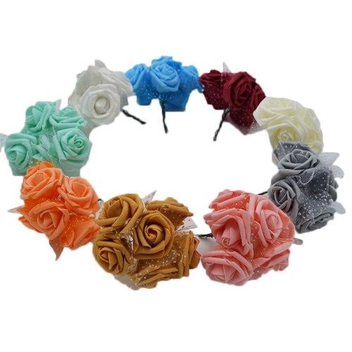 30pcs/lot 4cm PE Foam Rose Flower Bouquet Artificial Rose Flowers Handmade DIY Wedding Home Decoration Festive & Party Supplies