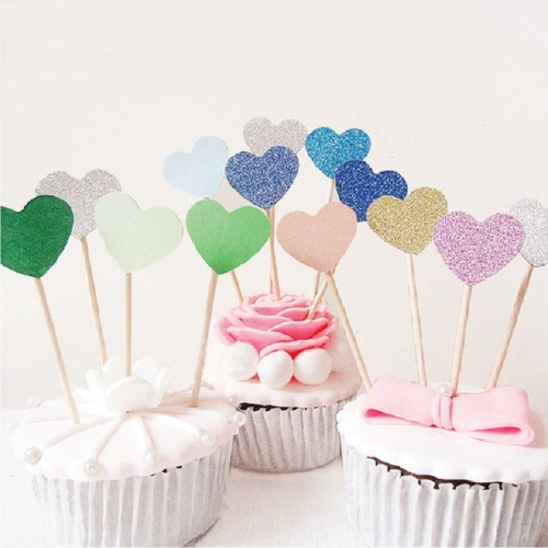 40pcs Multicolor Heart Shaped Cupcake Cake Topper Sticker Flag for Baby Shower Wedding Birthday Party Home Decoration Supplies