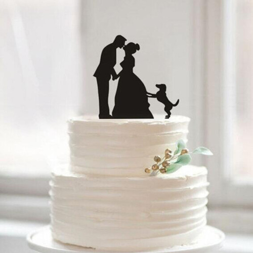 Romantic Dogs Mr & Mrs Wedding Cake Toppers Personalized Wedding Event Party Supplies Mariage Party Favors Decor