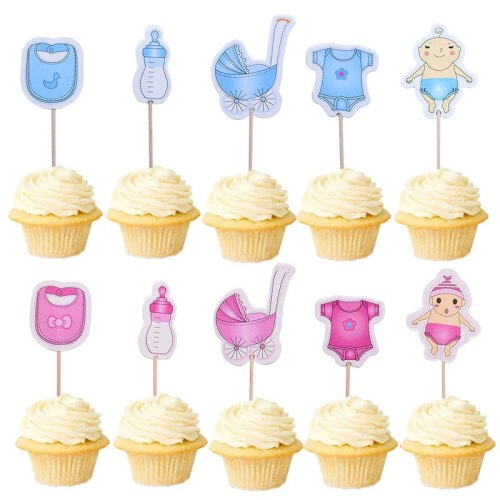 20Pcs/lot Baby Shower Cupcake Toppers BabyShower Boy Girl Christening Kids Birthday Party Favors Cake Decorations Supplies