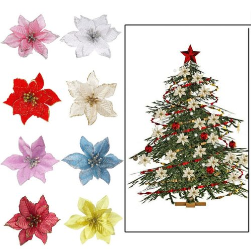5/10Pcs 14cm Glitter Artificial Flowers For Christmas Tree Decoration DIY Christmas Ornaments Home Wedding Xmas Party Decoration