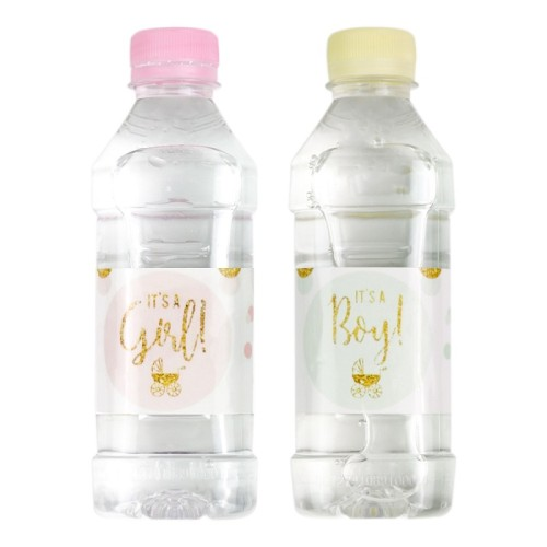12Pcs Baby Shower Water Bottle Label Stickers it is a boy/girl Tag Gender Reveal Christening Decor Baby shower Supplies Favors