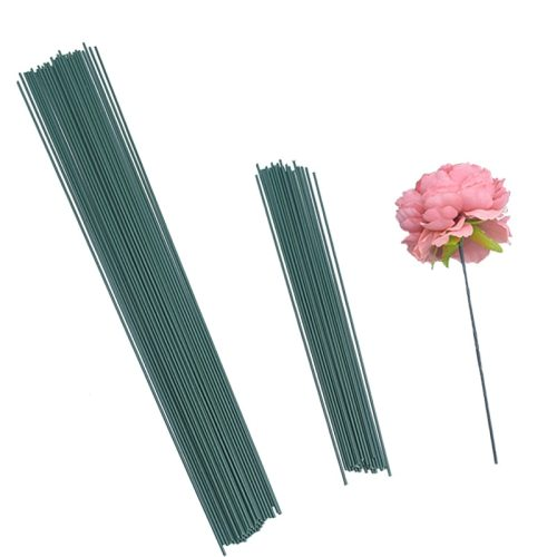 20Pcs 15/25/40cm Artificial Green Flower Stem DIY Floral Material Handmade Wire Stem Accessoies for Wedding Home Decoration