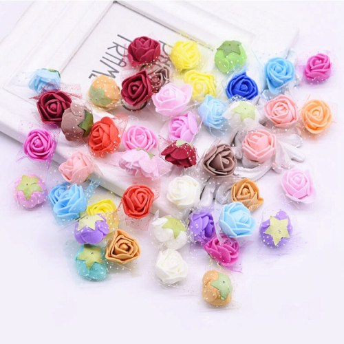 100Pcs 2cm Simulation Foam Rose Artificial Flower Head With Yarn Home Flower Wedding Decoration fake flowers