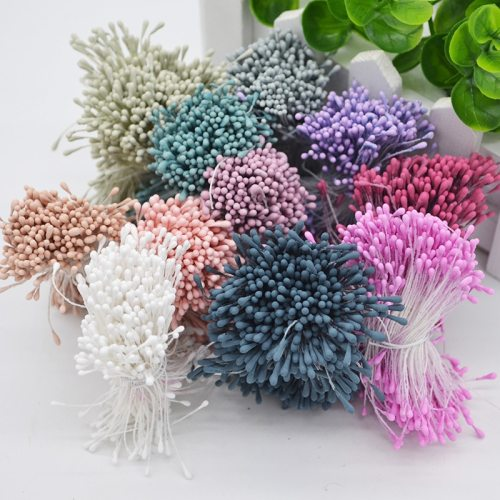 1 Bundle= 800Pcs Artificial Flower Double Heads Stamen Pearlized Craft Cards Cakes Decor Floral for Home Wedding Party Decor
