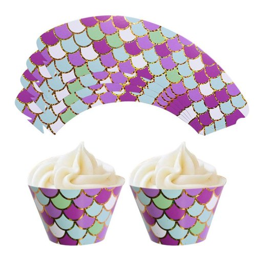 12Pcs Mermaid Cupcake Wrapper Under The Sea Party Decoration Baby Shower Kids Birthday Little Mermaid Party Supplies
