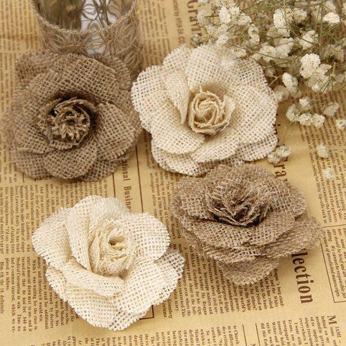 2/3/5pcs 9cm Handmade Jute Hessian Burlap Rose Flowers Vintage Rustic Wedding Decoration Jute Christmas Decorations for home