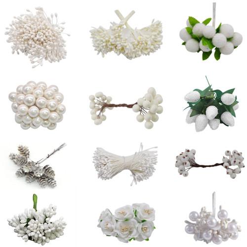 White Theme Artificial Flower Cherry Stamen Berries Bundle DIY Christmas Decoration Wedding Cake Gift Box Wreaths Xmas Decor