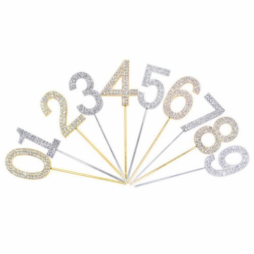 1Pc Gold Silver Diamond-studded Number 0-9 Cake Topper for Birthday Party Decoration Wedding Cake Decorations Cupcake Toppers