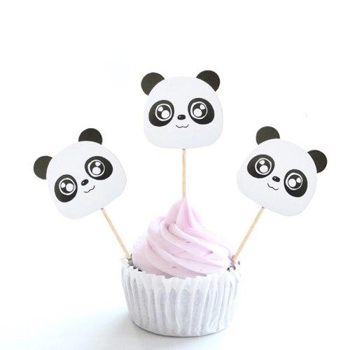 6pcs panda cupcake cake topper picks for kids birthday party baby shower wedding cake decoration animal jungle party supplies
