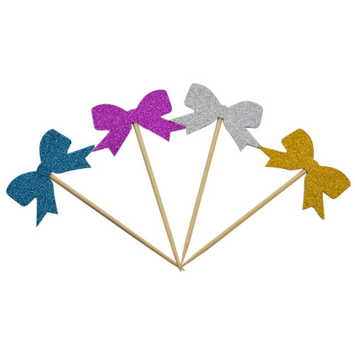 10Pcs Handmade Lovely Bowknot Cupcake Toppers Cake Party Supplies Birthday Wedding Party Decoration baby shower favors