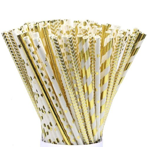 25pcs/pack Gold Foil Paper Straws For Kids Baby Shower Birthday Party Wedding Decorative Event Supplies Drinking Straws
