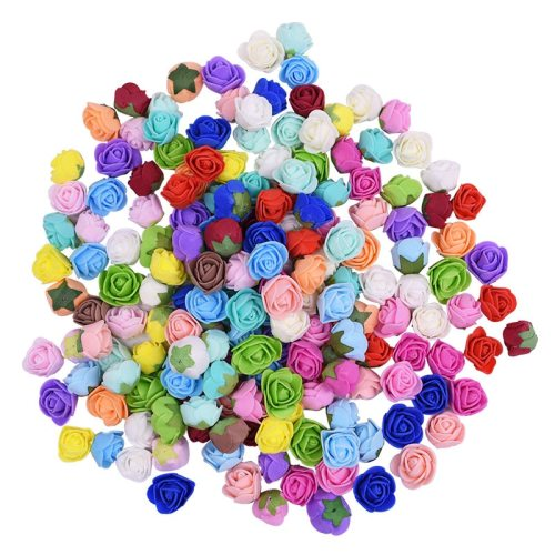 100pcs 2cm Mini Artificial Pe Foam Rose Flower Heads For Wedding Home Decoration Handmade Fake Flowers Ball Craft Party Supplies
