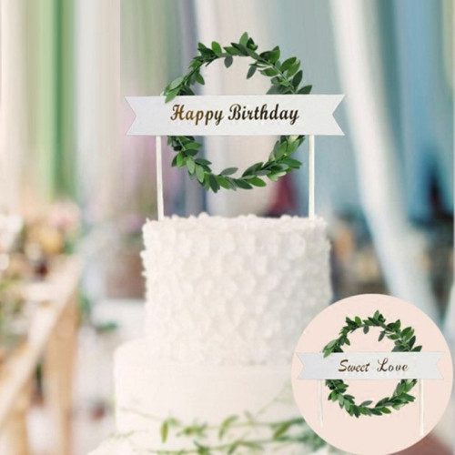 INS Style Cake Topper Happy birthday sweet love Wedding Cake Decorations Birthday Cake Cupcake Topper birthday party supplies
